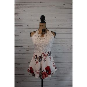Dresses & Skirts - New White Floral Romper. Tie back. Lace. Size M.